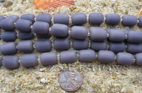 opaque purple color Cultured Sea Glass barrel nugget Beads  <b>13x10mm</b> (13-pc-str)   per  <b>5-str-hank</b>