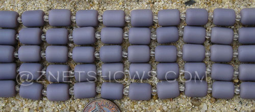 opaque purple color  Cultured Sea Glass barrel nugget Beads  <b>10x8mm</b> (17-pc-str)   per  <b>5-str-hank</b>