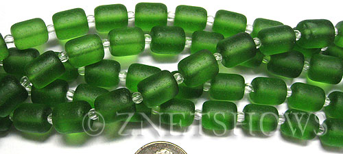 Cultured Sea Glass barrel nugget Beads  <b>10x8mm</b> 25-Shamrock (17-pc-str)   per  <b>5-str-hank</b>
