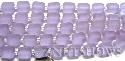 Cultured Sea Glass barrel nugget Beads  <b>10x8mm</b> 39-Periwinkle Changes (17-pc-str)   per  <b>5-str-hank</b>