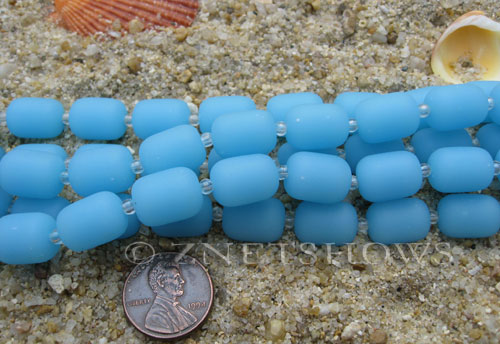 Cultured Sea Glass barrel nugget Beads  <b>13x10mm</b> 46-Opaque Blue Opal (13-pc-str)   per  <b>5-str-hank</b>