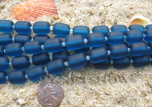 Cultured Sea Glass barrel nugget Beads  <b>13x10mm</b> 82-Teal (13-pc-str)   per  <b>5-str-hank</b>
