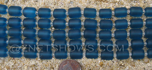 Cultured Sea Glass barrel nugget Beads  <b>10x8mm</b> 82-Teal (17-pc-str)   per  <b>5-str-hank</b>