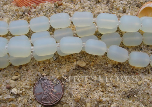 Cultured Sea Glass barrel nugget Beads  <b>13x10mm</b> 86-Moonstone Opal (13-pc-str)   per  <b>5-str-hank</b>
