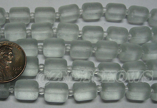 Cultured Sea Glass barrel nugget Beads <b>About 10x8mm </b> 88-Light Aqua `Coke` bottle Seafoam  (17-pc-str) per <b>5-str-hank </b>
