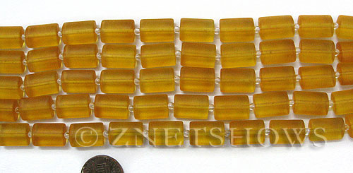 Cultured Sea Glass rectangle puffed Beads  <b>14x10mm</b> 16-Desert Gold    per  <b>12-pc-str </b>
