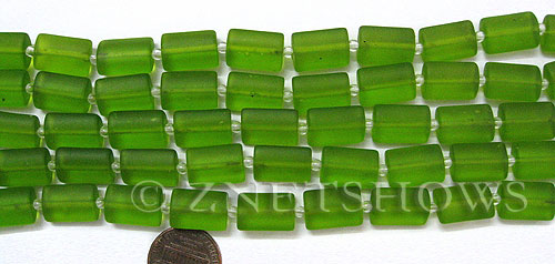 Cultured Sea Glass rectangle puffed Beads  <b>14x10mm</b> 22-Olive    per  <b>12-pc-str </b>