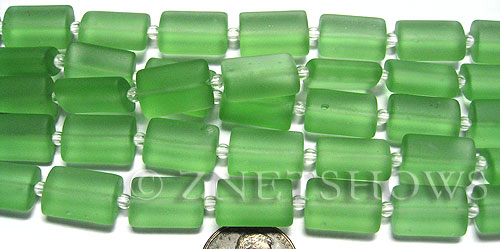 Cultured Sea Glass rectangle puffed Beads  <b>14x10mm</b> 23-Peridot    per  <b>12-pc-str</b>