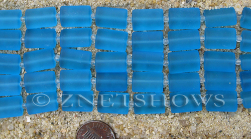 Cultured Sea Glass rectangle puffed Beads  <b>14x10mm</b> 30-Pacific Blue    per  <b>12-pc-str</b>