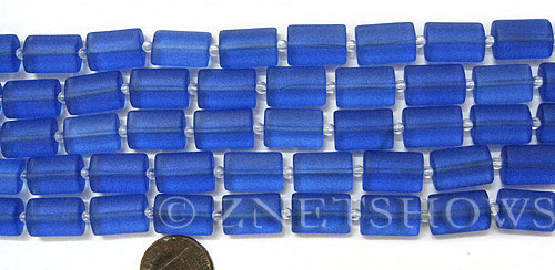 Cultured Sea Glass rectangle puffed Beads  <b>14x10mm</b> 31-Light Sapphire    per  <b>12-pc-str </b>