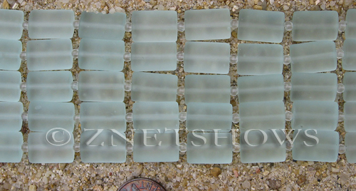 Cultured Sea Glass rectangle puffed Beads  <b>14x10mm</b> 88-Light Aqua `Coke` bottle Seafoam    per  <b>12-pc-str</b>