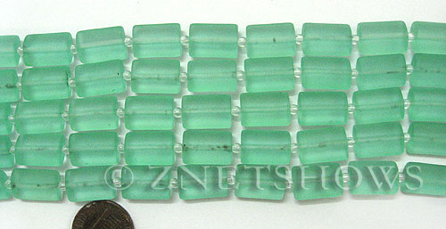 Cultured Sea Glass rectangle puffed Beads  <b>14x10mm</b> 89-Autumn Green    per  <b>12-pc-str </b>