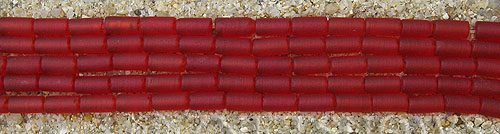 Cultured Sea Glass tube Beads  <b>9x4mm</b> 05-Cherry Red (strand length 8 inches)   per  <b>5-str-hank</b>