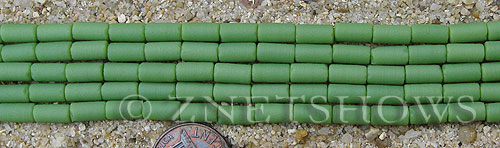 spring green color Cultured Sea Glass tube Beads  <b>9x4mm</b> (strand length 8 inches)   per  <b>5-str-hank</b>