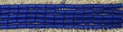Cultured Sea Glass tube Beads  <b>9x4mm</b> 33-Royal Blue (strand length 8 inches)   per  <b>5-str-hank</b>