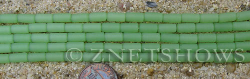 Cultured Sea Glass tube Beads  <b>9x4mm</b> 43-Opaque Seafoam Green (strand length 8 inches)   per  <b>5-str-hank</b>