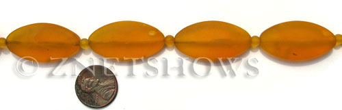 Cultured Sea Glass oval Beads  <b>35x18mm</b> 57-Saffron Yellow    per  <b>6-pc-str</b>