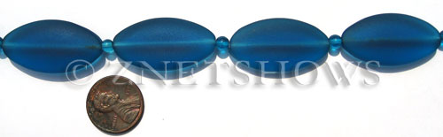 Cultured Sea Glass oval Beads  <b>35x18mm</b> 82-Teal    per  <b>6-pc-str</b>