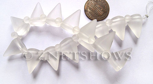 Cultured Sea Glass Spike Beads  <b>18x12mm</b> 01-Crystal cone shape with double hole beads    per  <b>8-inch (15-pc-str)</b>