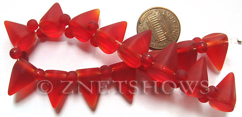 Cultured Sea Glass Spike Beads  <b>18x12mm</b> 05-Cherry Red cone shape with double hole beads    per  <b>8-inch (15-pc-str)</b>