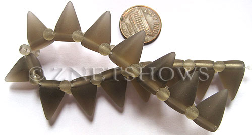 Cultured Sea Glass Spike Beads  <b>18x12mm</b> 15-Smoky Quartz  cone shape with double hole beads    per  <b>8-inch (15-pc-str)</b>