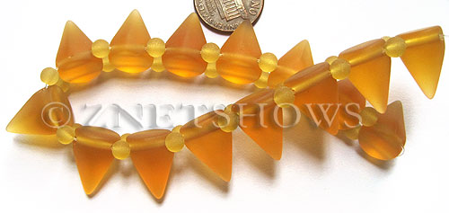 Cultured Sea Glass Spike Beads  <b>18x12mm</b> 16-Desert Gold cone shape with double hole beads   per  <b>8-inch (15-pc-str)</b>