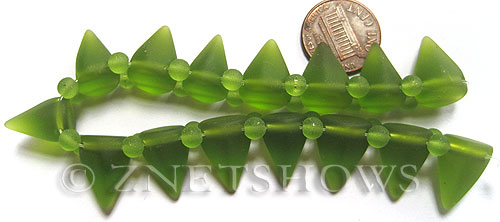 Cultured Sea Glass Spike Beads  <b>18x12mm</b> 22-Olive cone shape with double hole beads   per  <b>8-inch (15-pc-str)</b>