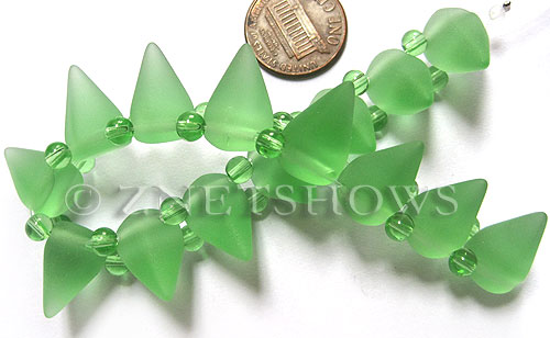 Cultured Sea Glass Spike Beads  <b>18x12mm</b> 23-Peridot cone shape with double hole beads   per  <b>8-inch (15-pc-str)</b>