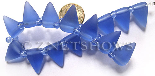 Cultured Sea Glass Spike Beads  <b>18x12mm</b> 31-Light Sapphire cone shape with double hole beads   per  <b>8-inch (15-pc-str)</b>