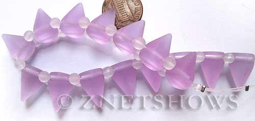 Cultured Sea Glass Spike Beads  <b>18x12mm</b> 39-Periwinkle Changes cone shape with double hole beads   per  <b>8-inch (15-pc-str)</b>