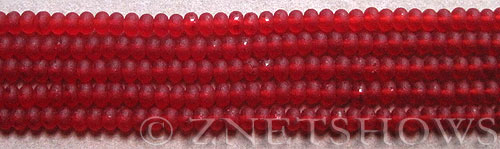 Cultured Sea Glass rondelle Beads  <b>4x3mm</b> 05-Cherry Red (58 pcs in 8-in-str)   per  <b>5-str-hank</b>