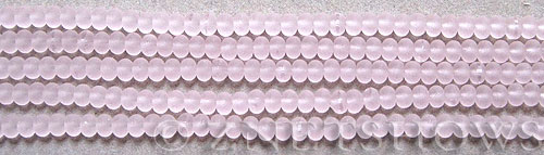 Cultured Sea Glass rondelle Beads  <b>4x3mm</b> 06-Blossom Pink (58 pcs in 8-in-str)   per  <b>5-str-hank</b>