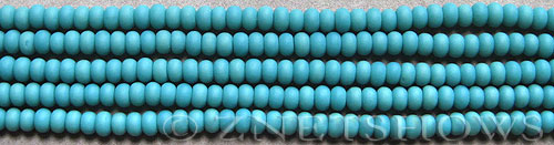 baby blue color Cultured Sea Glass rondelle Beads  <b>4x3mm</b>  (58 pcs in 8-in-str)   per  <b>5-str-hank</b>