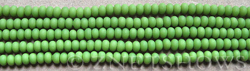 spring green color Cultured Sea Glass rondelle Beads  <b>4x3mm</b> (58 pcs in 8-in-str)   per  <b>5-str-hank</b>