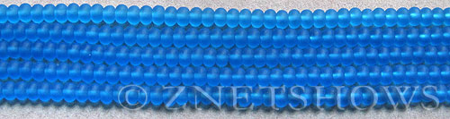 Cultured Sea Glass rondelle Beads  <b>4x3mm</b> 30-Pacific Blue (58 pcs in 8-in-str)   per  <b>5-str-hank</b>