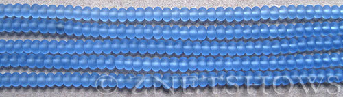 Cultured Sea Glass rondelle Beads  <b>4x3mm</b> 31-Light Sapphire (58 pcs in 8-in-str)   per  <b>5-str-hank</b>