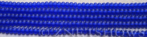 Cultured Sea Glass rondelle Beads  <b>4x3mm</b> 33-Royal Blue (58 pcs in 8-in-str)   per  <b>5-str-hank</b>