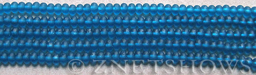 Cultured Sea Glass rondelle Beads  <b>4x3mm</b>  82-Teal (58 pcs in 8-in-str)   per  <b>5-str-hank</b>