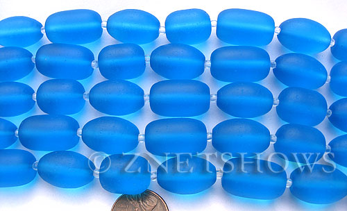 Cultured Sea Glass nugget Beads  <b>16-20x12mm</b> 30-Pacific Blue semi-free form nugget   per  <b>8-in-str</b>