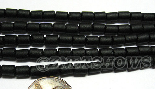 Cultured Sea Glass tube Beads <b>about 6x4mm</b> 02-Jet Black  (strand length 8 inches) per <b>5-str-hank</b>