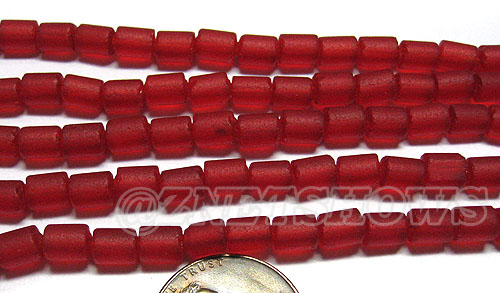 Cultured Sea Glass tube Beads <b>about 6x4mm</b> 05-Cherry Red  (strand length 8 inches) per <b>5-str-hank</b>
