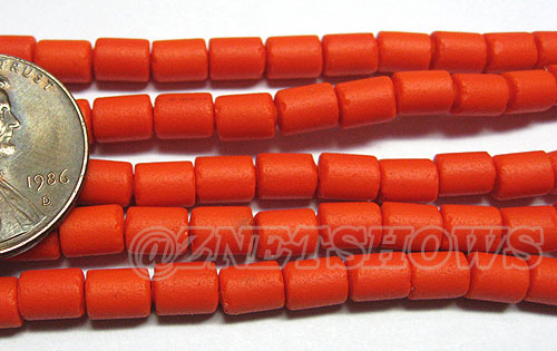 Cultured Sea Glass tube Beads <b>about 6x4mm</b> Other Colors  opaque orange color (strand length 8 inches) per <b>5-str-hank</b>