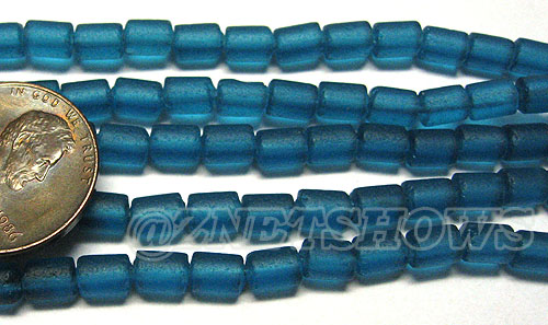 Cultured Sea Glass tube Beads <b>about 6x4mm</b> 82-Teal  (strand length 8 inches) per <b>5-str-hank</b>