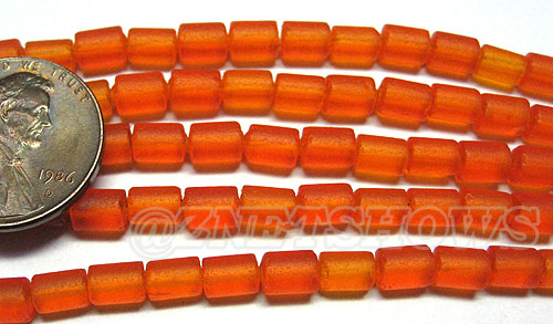 Cultured Sea Glass tube Beads <b>about 6x4mm</b> 83-Tangerine  (strand length 8 inches) per <b>5-str-hank</b>