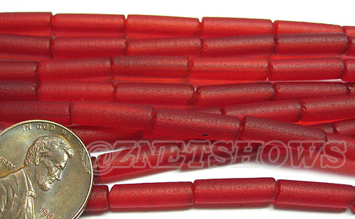 Cultured Sea Glass tube Beads <b> 14x4mm</b> 05-Cherry Red  (strand length 8 inches) per <b>5-str-hank</b>