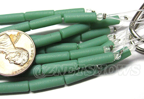 Cultured Sea Glass tube Beads <b> 14x4mm</b> Other Colors  baby blue color (strand length 8 inches) per <b>5-str-hank</b>