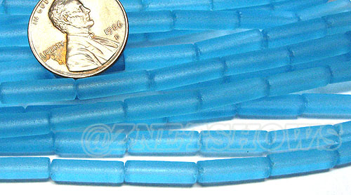 Cultured Sea Glass tube Beads <b> 14x4mm</b> 28-Turquoise Bay  (strand length 8 inches) per <b>5-str-hank</b>