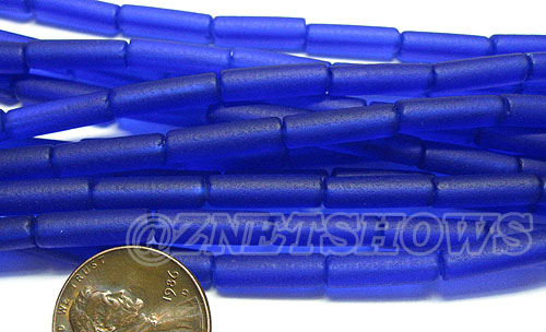Cultured Sea Glass tube Beads <b> 14x4mm</b> 33-Royal Blue  (strand length 8 inches) per <b>5-str-hank</b>