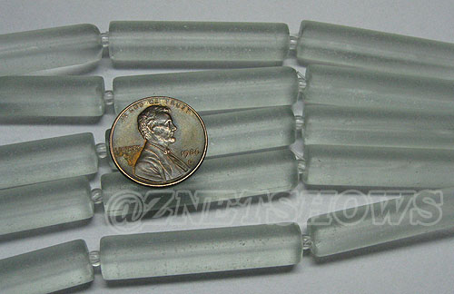 Cultured Sea Glass tube Beads <b>About 38x8mm </b> 88-Light Aqua `Coke` bottle Seafoam  (5-pc-str) per <b>5-str-hank</b>