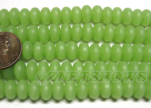Cultured Sea Glass rondelle Beads <b>8x5mm</b> 43-Opaque Seafoam Green  ( 39-pc-str) per <b>5-str-hank</b>
